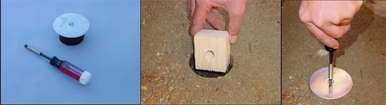 Mise en place d'une station dans un sol béton après carottage.